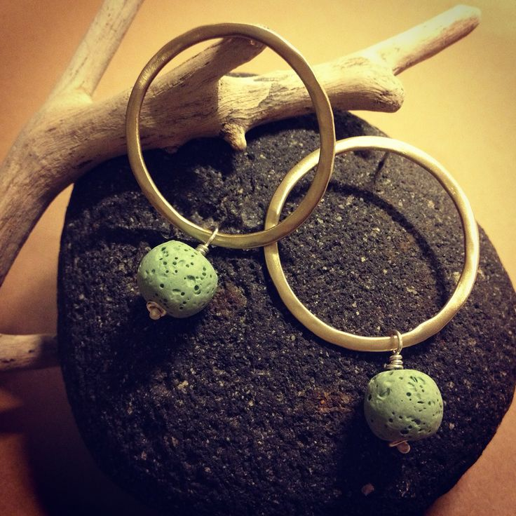 Brass gold plated earrings with mint lava stone