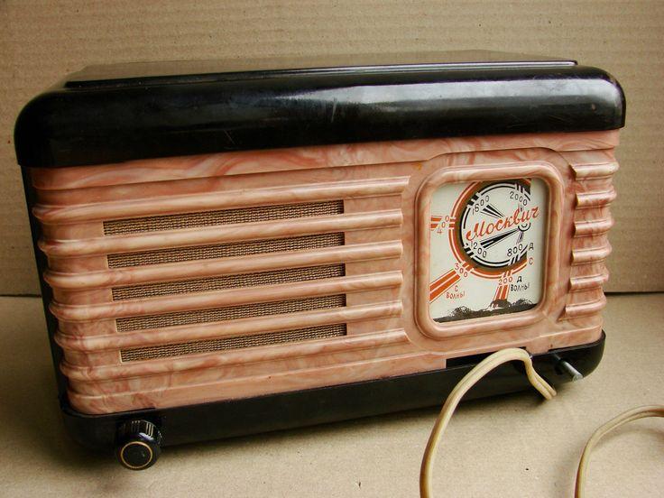 Russian Soviet USSR Vintage Tube Radio Bakelite Moskvich picclick.com