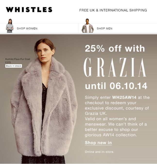 Whistles SUB: 25% off with Grazia UK Interesting magazines collaborations