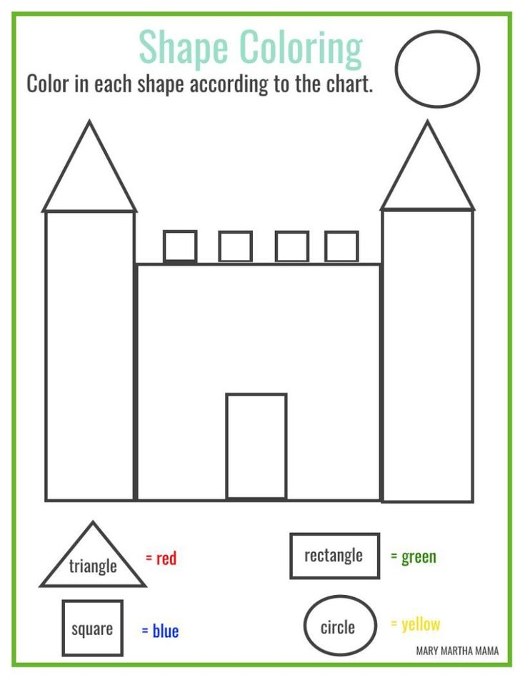 Free printable shape coloring printable Shape worksheets