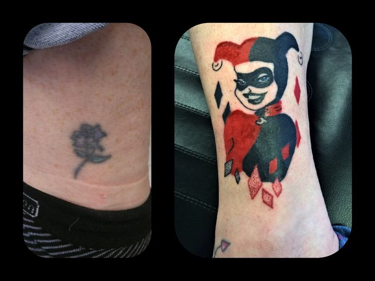 Cover up tattoo by Tiny T in Syston of this flower with a stunning harlequin in black and red.