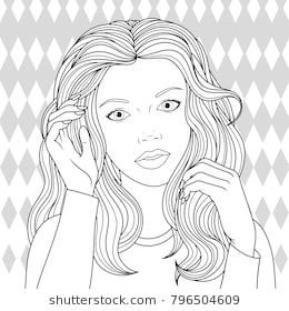 Vector Illustration Beautiful Girl Oloring Pages On White Background