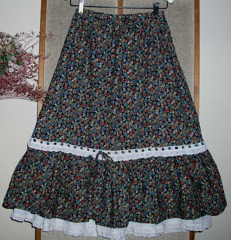 Vintage 1970's GUNNE SAX Style Cotton Boho / Hippie / Peasant / Renaissance SKIRT