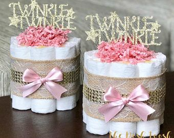Twinkle Twinkle Diaper Cake, Pink Twinkle Girl Baby Shower Centerpiece Decoration Gift, Little Star Gold Lace Burlap, ONE mini cake 1 tier