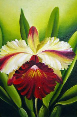 Resultado de imagem para pintura em tela orquideas