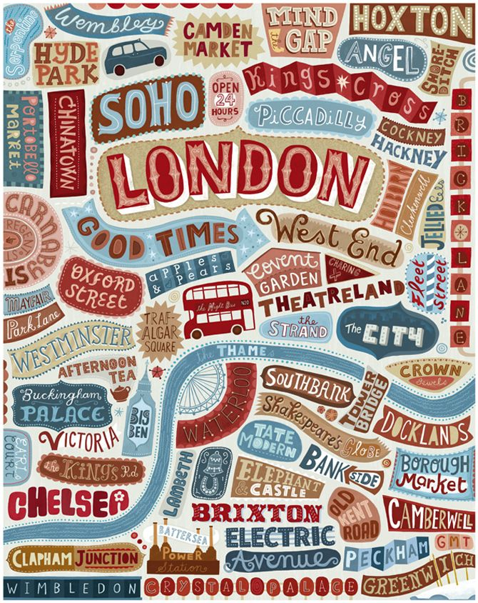 Beautiful Typography of London. I think the placement also represents the actual London's city scape.
