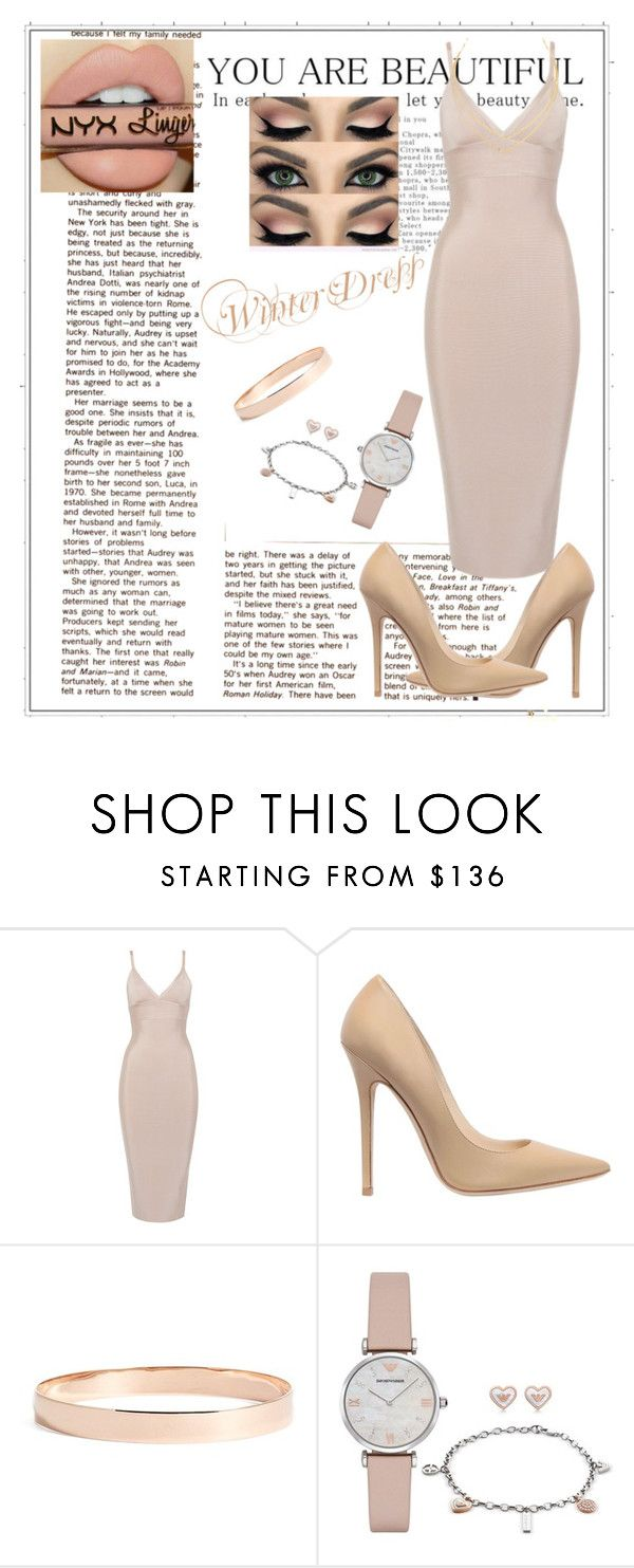 """""""Nude Winter Dress"""" by maloley-johnson ❤ liked on Polyvore featuring Jimmy Choo, Lana Jewelry, Emporio Armani and Lana"""