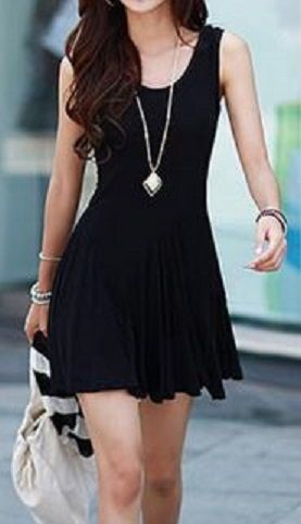 Fun and Flirty LBD! Clean and Simple Style Scoop Collar Sleeveless Solid Black Color Women's Dress #Fun #Flirty #Little_Black_Dress #Summer #Dress #Fashion #LBD