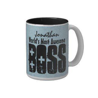 World's Most Awesome BOSS Blue Grunge V12 Mug