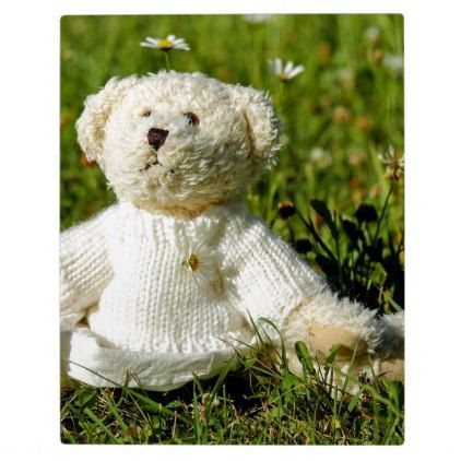 Plush Teddy Bear in the Garden Plaque - girly gifts special unique gift idea custom