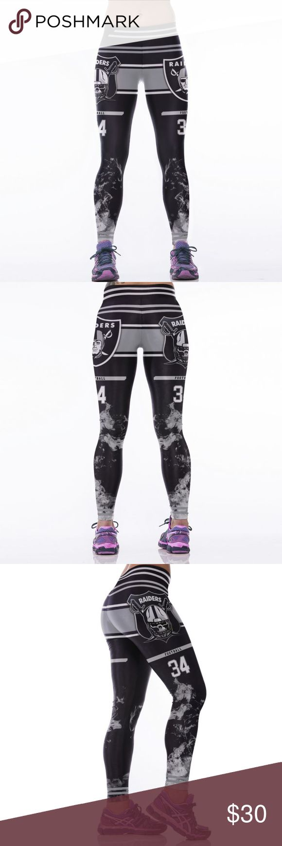 WEEKEND SALE Oakland Raiders NFL Leggings Root for your favorite team in these high quality NFL leggings! Perfect wardrobe addition while watching Sunday football games. The vivid colors and designs are sure to turn heads! Get a pair now while they last to show your team support every week as they inch their way to the glorious Super Bowl Condition: Brand New in Packaging Material: Spandex / Polyester Measurements:  (Length / Waist / Hip) S/M: 36 / 27.5-37 / 33-41.5 L/XL: 36.5 / 30–39.5…