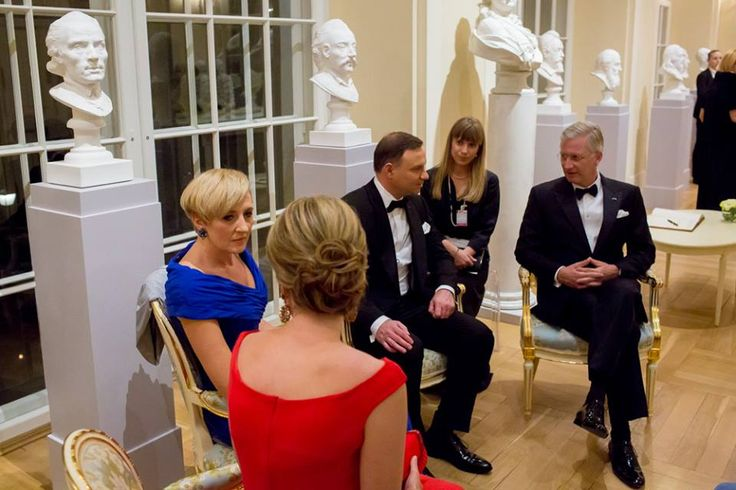 Belgium's Queen Mathilde,  the first lady of Poland Agata Kornhauser-Duda, Belgium's King Philippe  and Polish president Andrzej Duda.