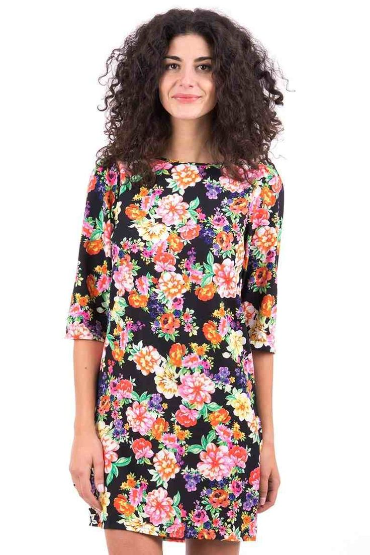 Black Floral Shift Dress. Refresh your wardrobe with this gorgeous floral dress!   Perfect for a sunny day! Simply team up with a pair of lovely of sandals   and a shoulder bag for that finishing touch!   Key features inlcude a round neckline, zip fastening at the back of the neck with 3/4 sleeves.   Grab this fabulous dress now at only £17.99!
