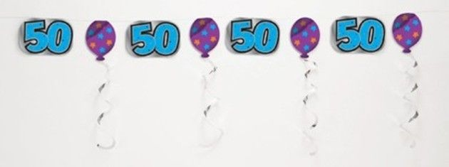 50th Birthday Embossed Foil Party Garland Banner - 3m