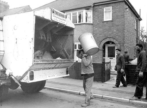 No wheelie bins in those days ! Those men were tough.