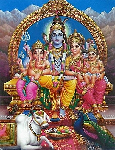 Shiva,Parvati, Ganesh & Muruga