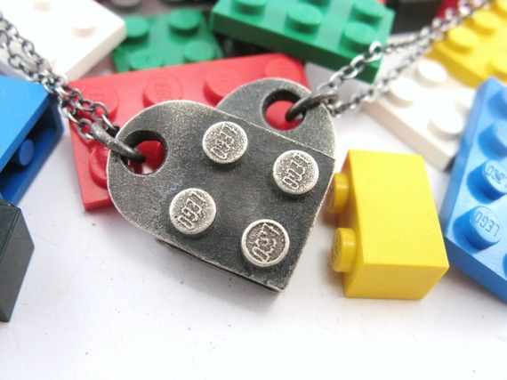 Lego friendship necklaces! The best part - since they're cast from real Legos, you can build off of them!    Interlocking Block Heart Pendants  Set of 2  Building by rubygirl, $130.00