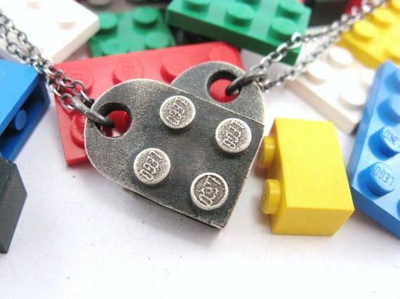 Lego heart necklaceReal Lego, Handcrafted Jewelry, Lego Necklaces, Pendants Sets, Interlocking Block, Heart Pendants, Block Heart, Lego Heart, Interlocking Lego