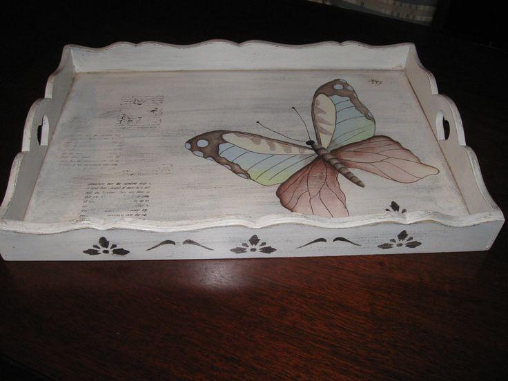 Bandeja de madera pintada a mano vintage boyamalar for Bandejas de madera decoradas