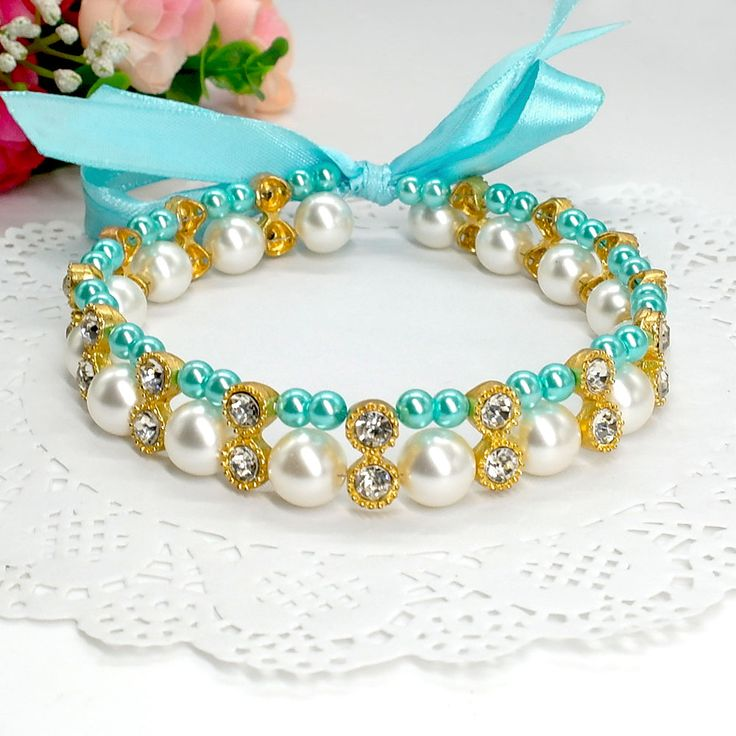 Collar de cristal de gato de diamantes de imitación de 2 hileras con perlas de perlas Collar de cristal en …