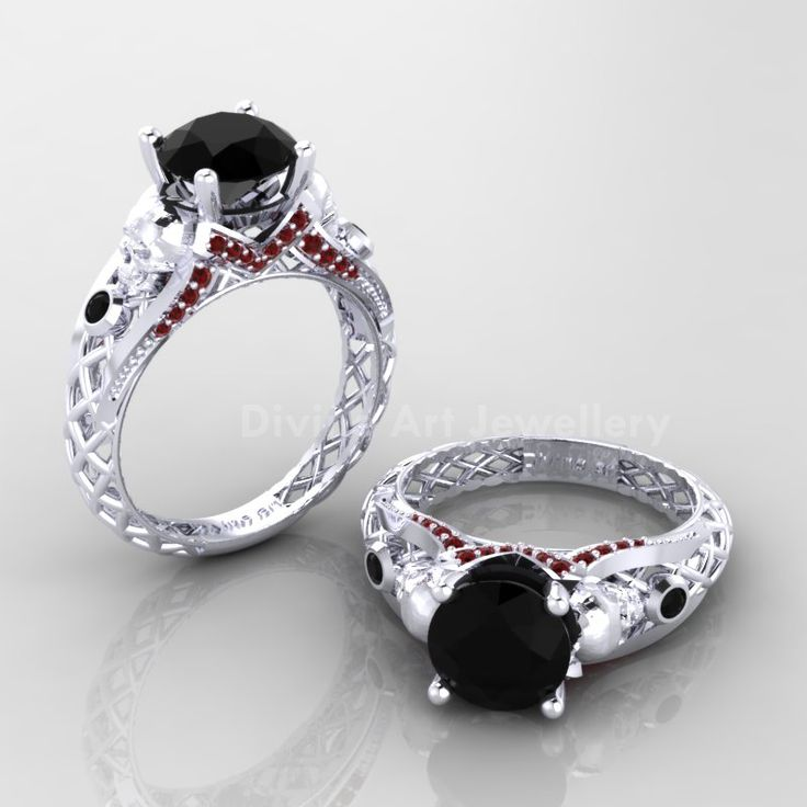 solid white gold 10 skull gothic black onyx cz engagement ring most selling metal solid white gold main - Gothic Wedding Rings