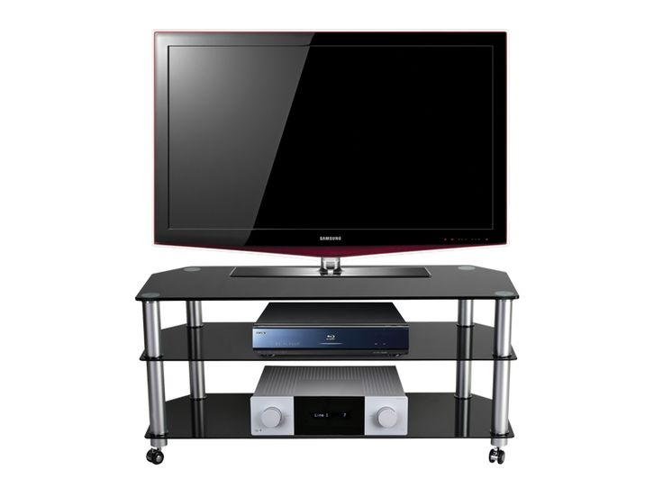 """Stil Stand Black Glass Tv Stand / TV Trolley up to 50"""" STUK1402 BL/CA.       Suits up to 50"""" LCD/Plasma TV     Black Glass Shelves     Toughened Safety Glass     Aluminium Legs     All of our black glass TV stands are compatible with most popular brands of television.   Dimensions: 1075mm (w) x 400mm (d) x 507 (h) mm.  ST2STUK1402BLCA."""