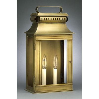 Northeast Lantern Concord 2 Light Outdoor Flush Mount Finish: Antique Copper, Shade Type: Clear Seedy