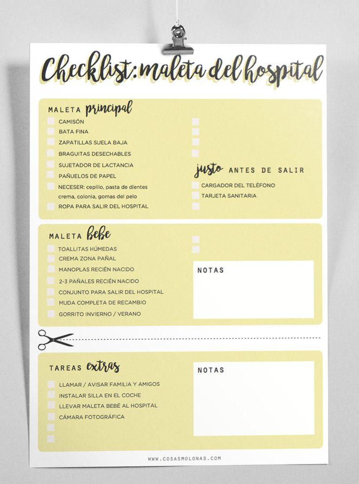 Imprimible / Checklist para la maleta de maternidad | Cosas Molonas | DIY Blog