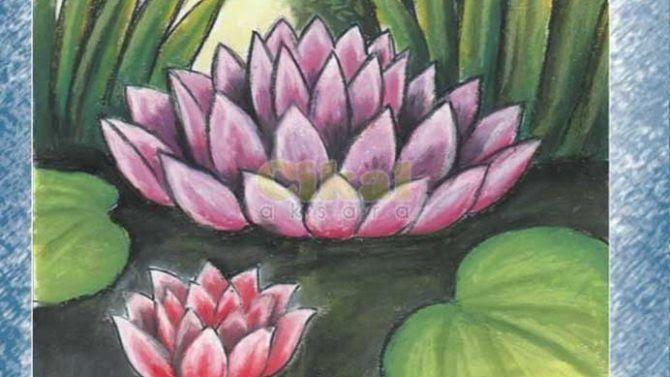 29 Lukisan Bunga Teratai Hitam Putih Menggambar Dan Mewarnai Dengan Oil Pastel Tri Hartanto Download Teratai Hita Gambar Bunga Bunga Teratai Lukisan Bunga