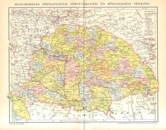1896 Original Antique Political Map of by CabinetOfTreasures