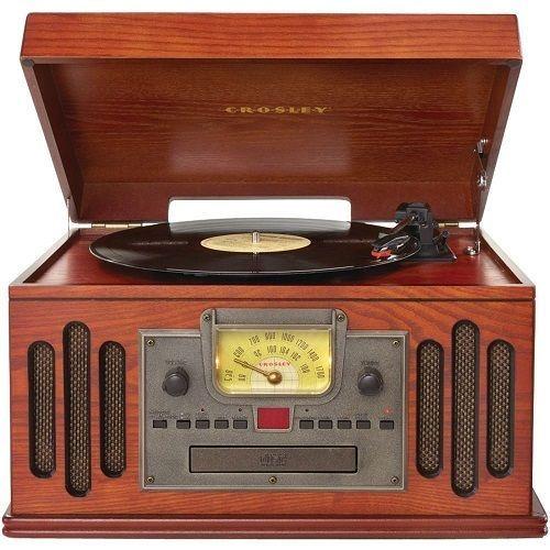 Wooden Record Player Crosley Radio Turntable Entertainment Center AM FM Music CD #CROSLEYRADIO