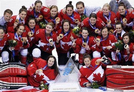 Canadian women celebrate gold…2014 Sochi Olympics