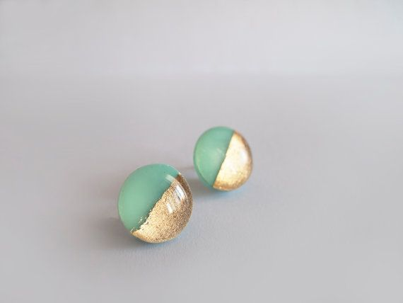 Mint Gold Round Stud Earrings - Hypoallergenic Surgical Steel Posts via Etsy