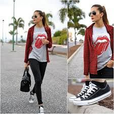 Outfit casual y deportivo para mujer en el día a día  #pantalón #negro #camisa #cuadros #rojos