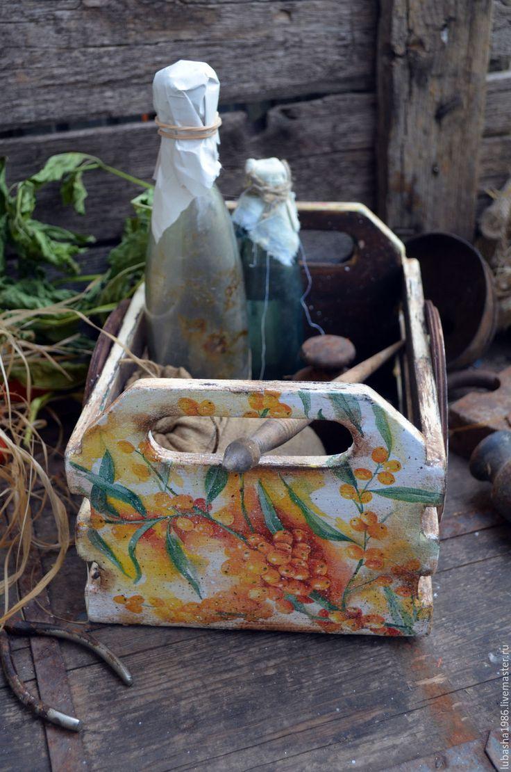 """Купить Ящик для кухни """"Облепиха"""" в стиле Кантри - оранжевый, листья, ящик, ящик для хранения"""