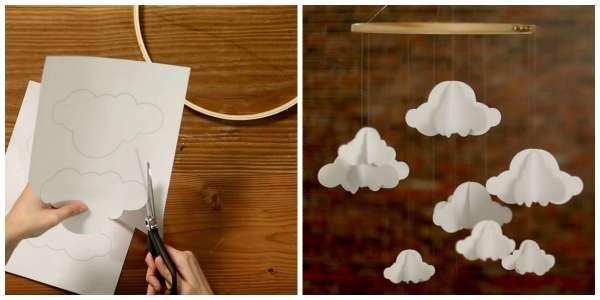 Mobile nuages en papier