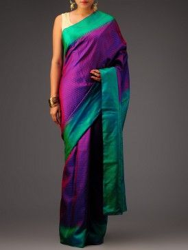 Violet-Green Kanchipuram Silk Saree