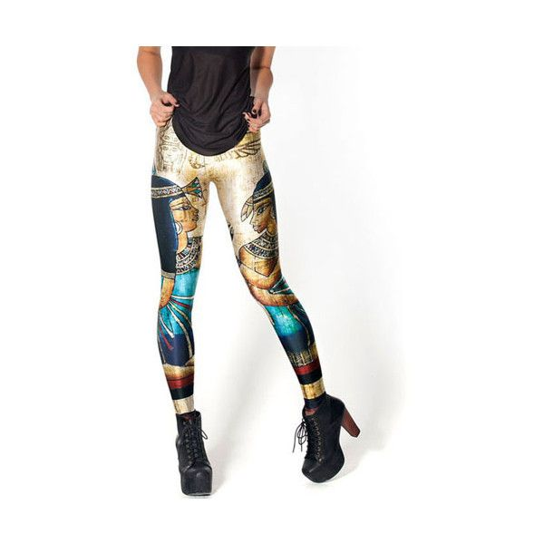 Womens Golden Attendant Vintage Egypt Tribal Printed Leggings ($12) ❤ liked on Polyvore featuring pants, leggings, gold, tribal pants, tribal print pants, tribal print leggings, white trousers and white legging pants
