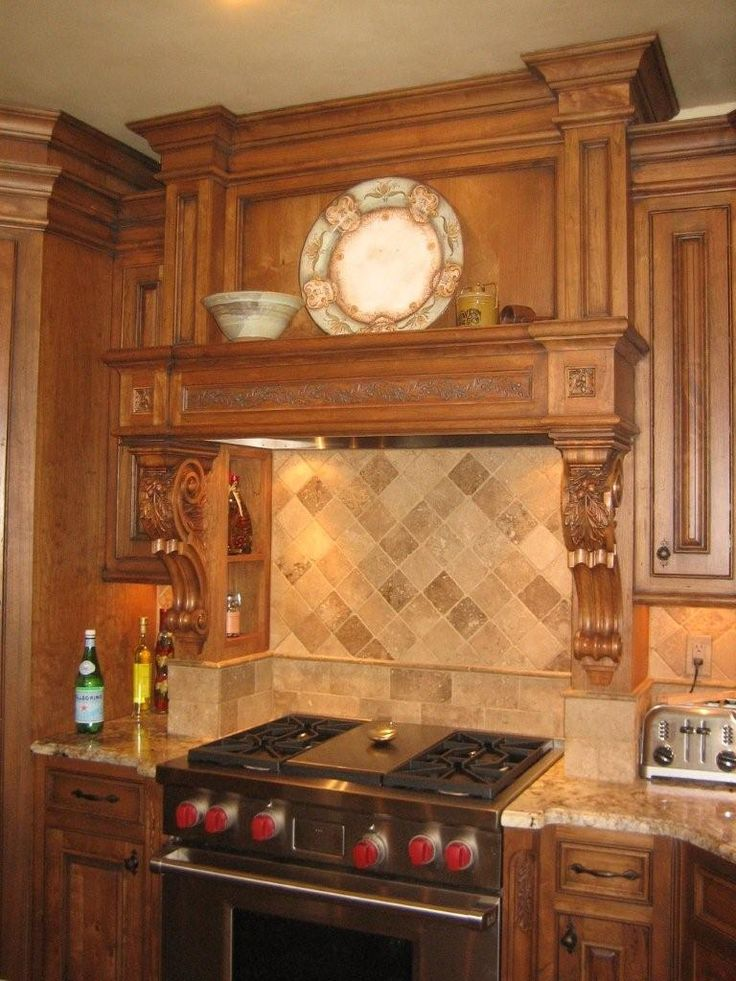 Wood Carved Oak Leaf And Acorn Decorative Range Hood