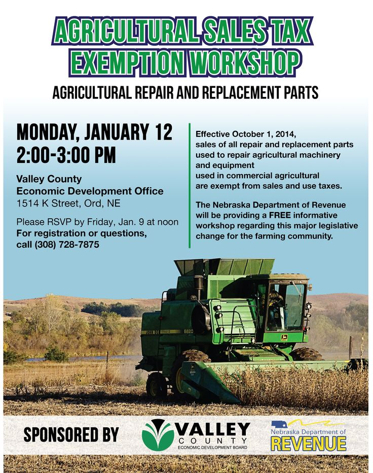 Agricultural Sales Tax Exemption Workshop - January 12, 2015