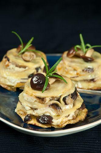 Bouchées de lasagnes ricotta champignons romarin
