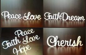 Wedding table names, hand painted white, wooden words