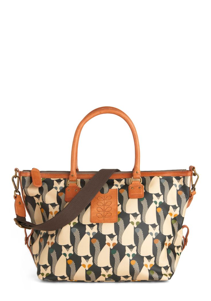 Orla Kiely The Fox of Life Bag by Orla Kiely - Multi, Yellow, Green, Blue, Tan / Cream, Grey, Print with Animals, Casual