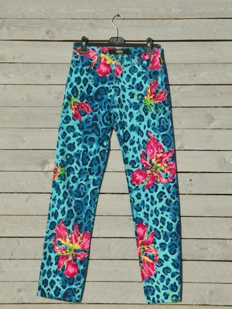 Versace blue animalier floral print jeans by RoaringRetro on Etsy, $145.00