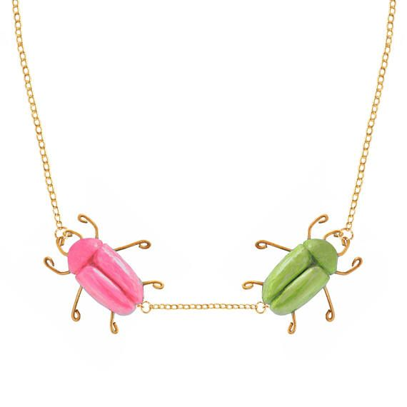 BEETLE NECKLACE GREEN and pinK  hand madestatement necklace
