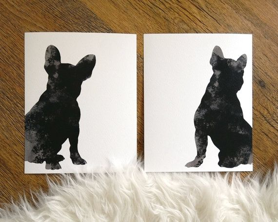 French Bulldog Illustration Gray dog art giclee by ColorWatercolor #frenchie #dogs #silhouette #watercolor #painting