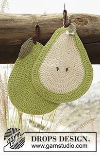 "Quite a Pear! - Crochet DROPS pear pot holders in ""Paris"". - Free pattern by DROPS Design"