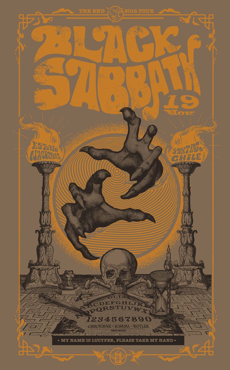 GigPoster to THE END live in Santiago Chile the last tour of BLACK SABBATH.