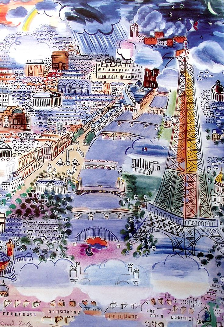 View of Paris, watercolor by Raoul Dufy.