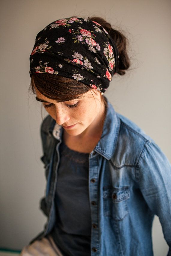 Dramatic Roses in Black Floral Stretch Headwrap by GarlandsOfGrace